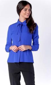 Niebieska bluzka Nommo z kokardą z długim rękawem