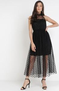 Czarna sukienka born2be trapezowa z okrągłym dekoltem maxi