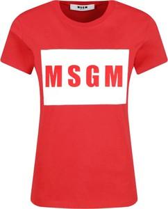 Czerwony t-shirt MSGM z krótkim rękawem z okrągłym dekoltem w młodzieżowym stylu