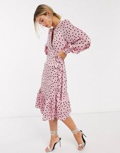 Sukienka Vero Moda midi z dekoltem w kształcie litery v