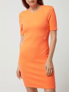 Sukienka Calvin Klein z okrągłym dekoltem w stylu casual z bawełny