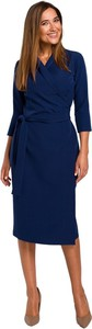 Niebieska sukienka Style z tkaniny midi z długim rękawem