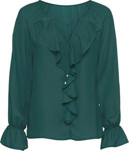 Zielona bluzka bonprix bodyflirt bez wzorów z długim rękawem