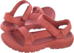 Czerwone sandały Teva na rzepy z płaską podeszwą