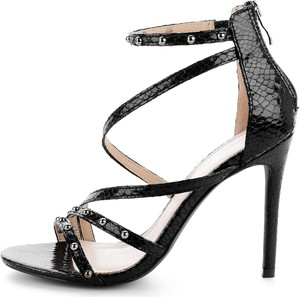 Czarne sandały Prima Moda na wysokim obcasie
