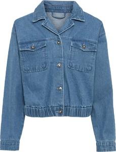 Niebieska kurtka bonprix krótka z bawełny