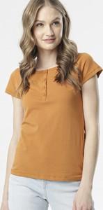 Pomarańczowa bluzka born2be z krótkim rękawem w stylu casual