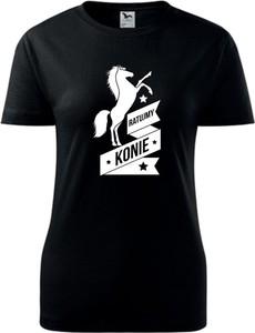 Czarna bluzka TopKoszulki.pl z okrągłym dekoltem z krótkim rękawem z bawełny