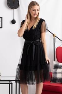 Czarna sukienka Grandio z tiulu wyszczuplająca