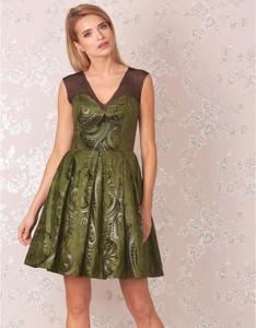 Zielona sukienka Kasia Zapała mini z dekoltem w kształcie litery v z tkaniny