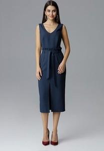 Niebieska sukienka Figl bez rękawów