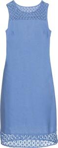 Błękitna sukienka bonprix BODYFLIRT midi bez rękawów