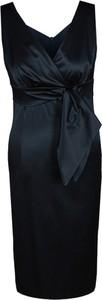 Granatowa sukienka Fokus z tkaniny z dekoltem w kształcie litery v
