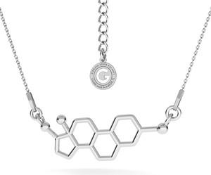 GIORRE SREBRNY NASZYJNIK ESTROGEN, WZÓR CHEMICZNY 925 : Kolor pokrycia srebra - Pokrycie Jasnym Rodem