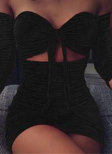 Czarna sukienka Cikelly z długim rękawem mini w stylu casual