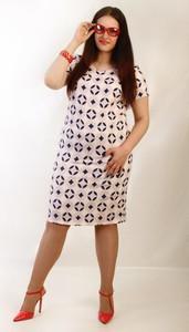 Sukienka Oscar Fashion midi ołówkowa w geometryczne wzory