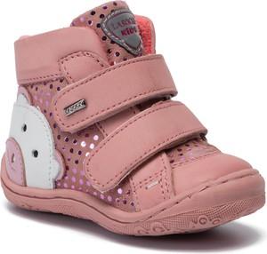 Różowe buty dziecięce zimowe Lasocki Kids na rzepy w groszki