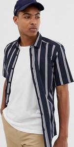 Granatowa koszula Only & Sons z klasycznym kołnierzykiem z krótkim rękawem