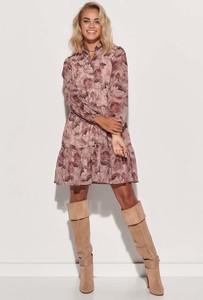 Różowa sukienka Makadamia z długim rękawem