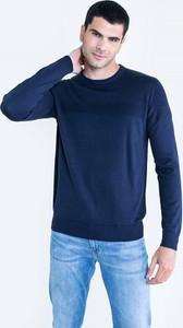 Granatowy sweter Big Star z okrągłym dekoltem z bawełny