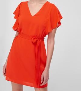 Czerwona sukienka Trendyol mini z krótkim rękawem
