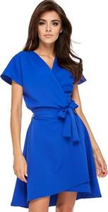 Niebieska sukienka Ooh la la z dekoltem w kształcie litery v z krótkim rękawem