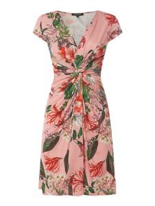 Różowa sukienka Ilse Jacobsen z krótkim rękawem z dekoltem w kształcie litery v