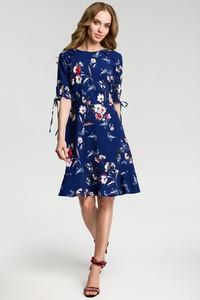 a834ee0ddf Granatowa sukienka MOE midi z krótkim rękawem