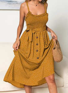 Żółta sukienka Cikelly z dekoltem w kształcie litery v w stylu boho