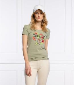 Zielony t-shirt Guess z okrągłym dekoltem z krótkim rękawem w młodzieżowym stylu