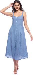 Sukienka Lin Passion midi z dekoltem w kształcie litery v z lnu