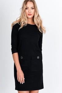 Czarna sukienka ZOiO.pl z długim rękawem mini z okrągłym dekoltem