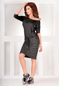 Czarna sukienka NUMOCO z długim rękawem sportowa w sportowym stylu