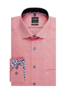 Różowa koszula Olymp z bawełny z klasycznym kołnierzykiem z długim rękawem