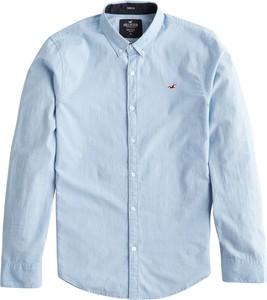 Niebieska koszula Hollister Co. z bawełny z kołnierzykiem button down z długim rękawem