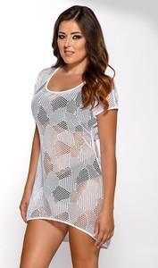 Ava letnia sukienka plażowa sp1 biały