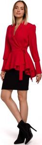 Czerwona marynarka MOE krótka z tkaniny