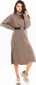 Sukienka Awama z długim rękawem wyszczuplająca z wełny