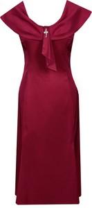 Czerwona sukienka Fokus z tkaniny midi