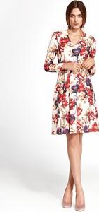Sukienka NIFE w stylu casual rozkloszowana z długim rękawem