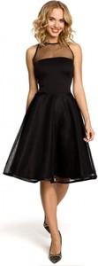 Czarna sukienka MOE gorsetowa z tiulu midi