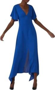 Niebieska sukienka Trussardi maxi z krótkim rękawem
