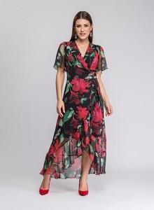 Sukienka Semper z dekoltem w kształcie litery v z krótkim rękawem maxi