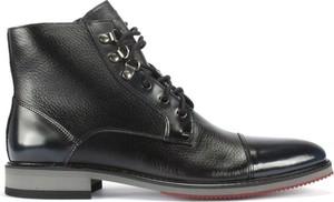 Czarne buty zimowe Domeno sznurowane ze skóry