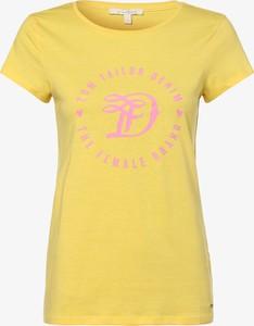 Żółty t-shirt Tom Tailor Denim z krótkim rękawem z okrągłym dekoltem z bawełny