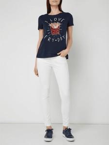 Granatowa bluzka edc by Esprit w stylu glamour z krótkim rękawem z bawełny