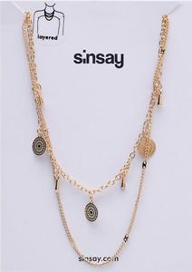 Sinsay - Kaskadowy naszyjnik z zawieszkami - Złoty