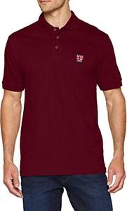 Czerwona koszulka polo amazon.de z krótkim rękawem