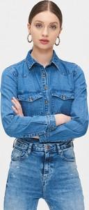 Niebieska koszula Cropp z jeansu z długim rękawem z kołnierzykiem