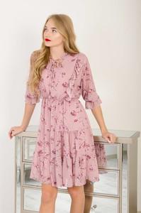 Sukienka Olika trapezowa z szyfonu